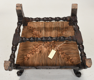 William and Mary Carved and Caned Open Armchair