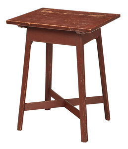 American Federal Red Painted Pine Table
