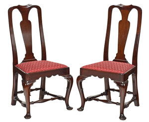 Pair of Queen Anne Style Mahogany Side Chairs