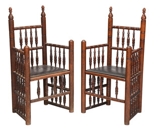 Pair Early American Style Turned Carver Chairs