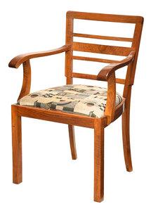 Biedermeier Style Figured Walnut Open Armchair