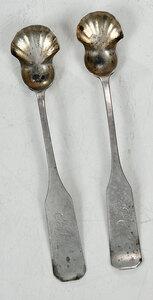 Two Vogler Coin Silver Salt Spoons