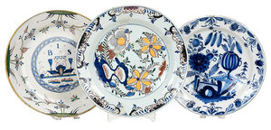 Three Polychrome, Blue and White Delft Chargers
