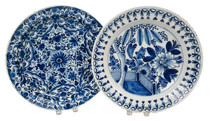 Two Blue and White Decorated Delftware Chargers