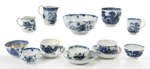 14 Pieces of Blue and White Worcester