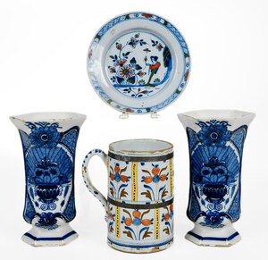 Lot of Four Dutch and English Delft Table Items