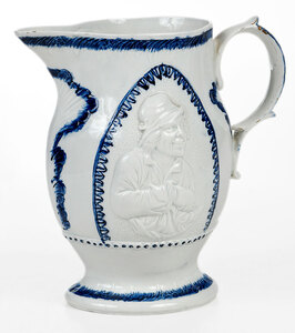 Blue and White Prattware Relief Molded Jug