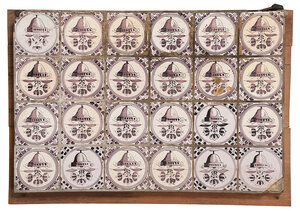 Panel of 24 Dutch Delft Manganese Decorated Tiles