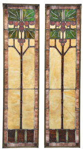 Pair of Leaded and Stained Glass Panels