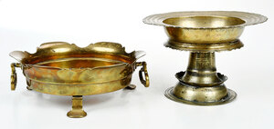 Baroque Brass Tazza and Footed Warming Dish