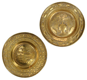 Two German Brass Alms Dishes