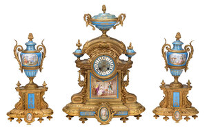 French Japy Freres Clock Garniture Set