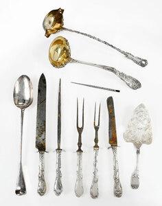 Ten Silver Serving Pieces/Ink Pen