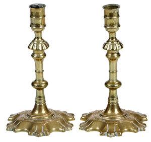 Near Pair of Georgian Brass Candlesticks