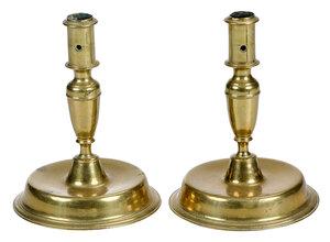 Pair of European Brass Candlesticks