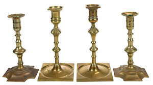 Two Pairs Georgian Brass Candlesticks