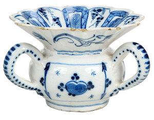Dutch Delft Blue and White Three Handled Spittoon
