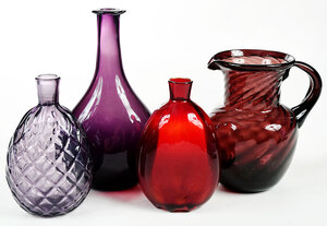 Four American Blown Colored Glass Articles