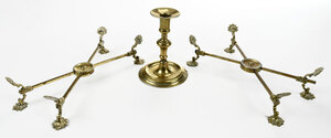 Georgian Brass Candlestick and Two Dish Crosses