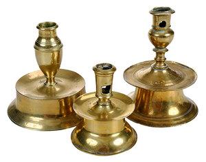 Three North European Brass Candlesticks