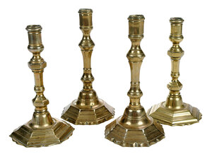 Two Pairs French Brass Candlesticks