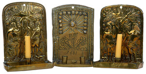 Three Continental Brass Repoussé Wall Sconces