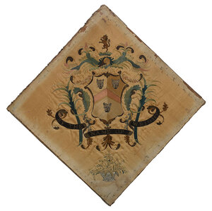 Wright Family Silk Embroidered Coat of Arms