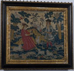 George II Wool and Silk Pastoral Needlework