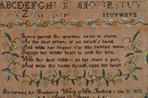 Rare 1822 New Bedford Massachusetts Needlework