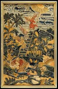 Queen Anne Wool Canvas Needlework, Jacob's Dream