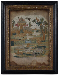 George II Silk and Canvas Pastoral Needlework