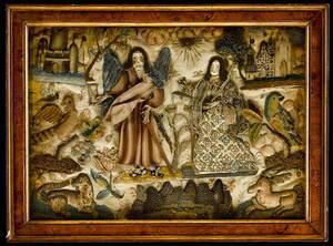Charles II Allegorical Silk Raised Needlework