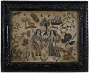 Charles II Silk and Metallic Thread Needlework
