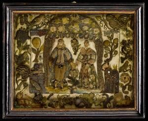 Charles II Satin and Purl Raised Needlework