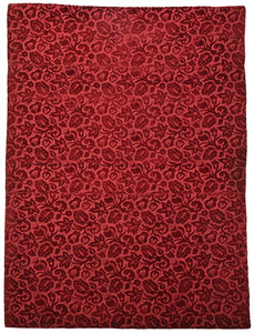 Fine Italian Crimson Cut Velvet Silk Panel