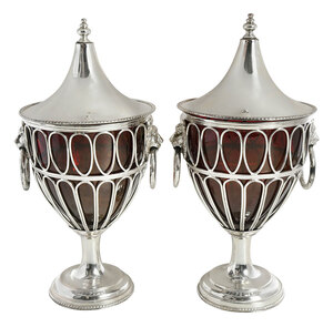 Pair of Silver Plate Chestnut Urns