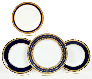 37 Cobalt and Gilt Decorated Porcelain Plates