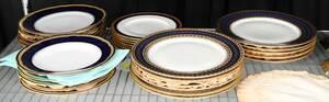 37 Cobalt and Gilt Decorated Porcelain Plates