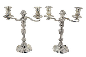 Pair Silver Plate Elkington Two Arm Candelabra