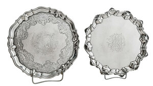 Two Footed English Silver Salvers
