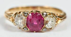 Antique 18kt. Ruby and Diamond Ring