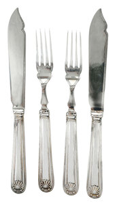24 Piece English Silver Fish Set