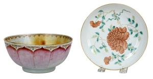 Chinese Enameled Porcelain Plate, Lotus Bowl