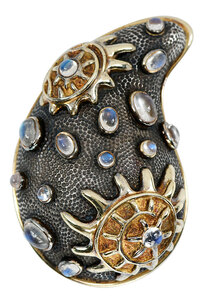 Marilyn Cooperman 18kt., Silver, Gemstone Brooch