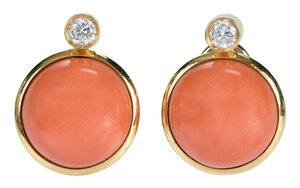 18kt. Coral and Diamond Earrings