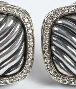 David Yurman Silver, Gold and Diamond Earrings