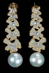 David Yurman 18kt. Diamond and Pearl Earrings