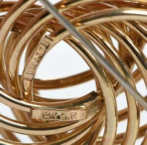 18kt. Gemstones Earclips and Gold Filled Brooch