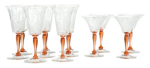 Set of 12 Etched Steuben Glass Stemware