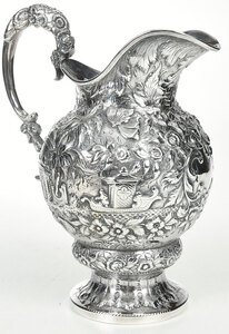 Samuel Kirk Repousse Coin Silver Water Pitcher